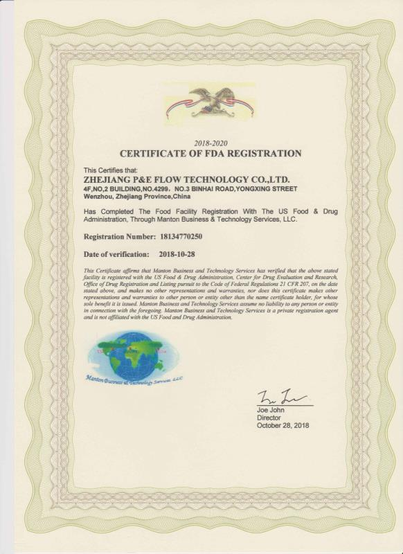 P&E FLOW TECHNOLOGY CO.,LTD has passed  FDA certification